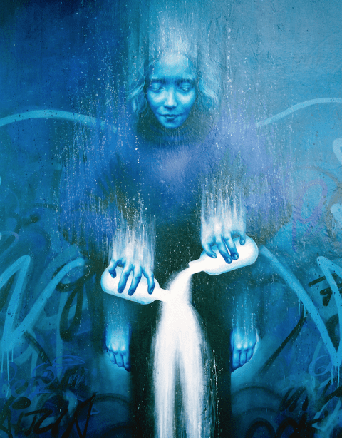 Blue Girl Graffiti
